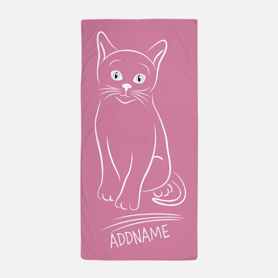 Soft Pink Hand Drawn Cat Personalized Beach Towel