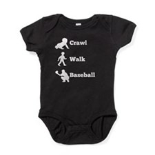 Crawl Walk Baseball Baby Bodysuit