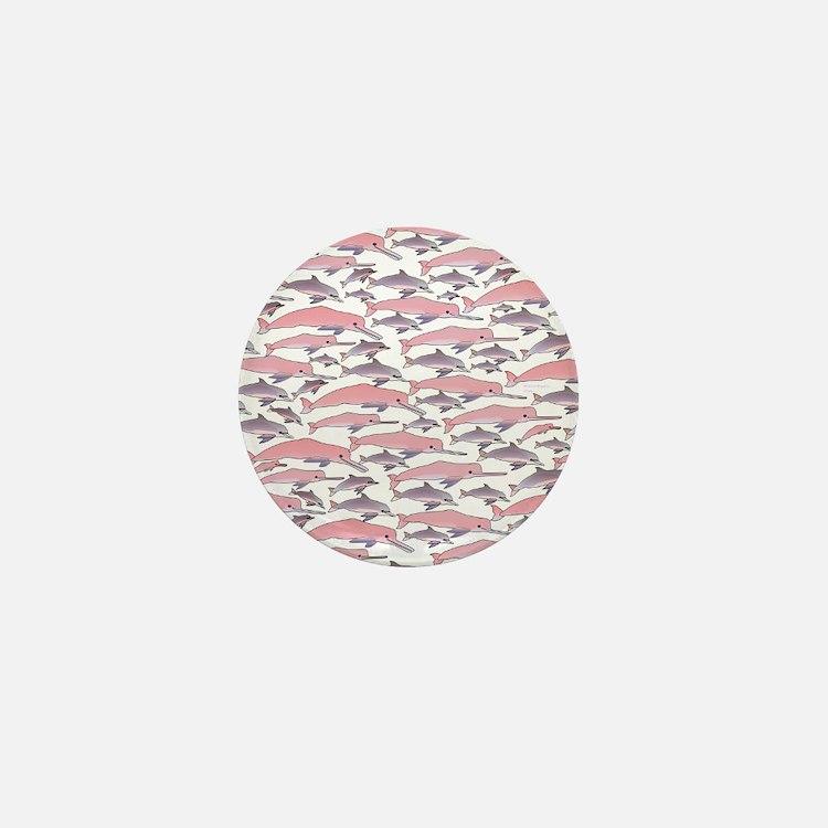 Pink Dolphin Pattern Mini Button