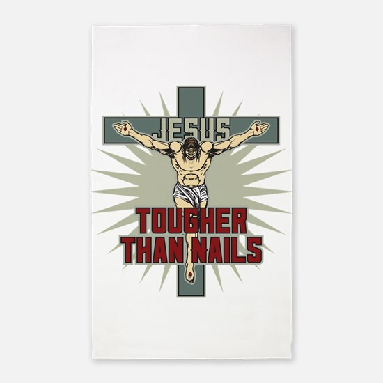 Jesus Tougher Than Nails Area Rug
