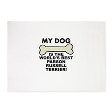 Worlds Best Parson Russell Terrier 5'x7'Area Rug