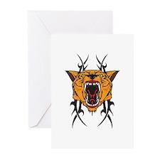 Cougar Tribal Design Greeting Cards (Pk of 10)