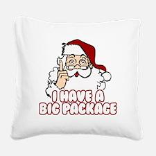Santa Has A Big Package Square Canvas Pillow