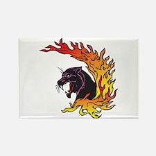 Black Panther & Flames/Fire Design Rectangle Magne