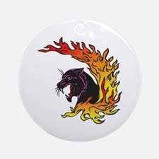 Black Panther & Flames/Fire Design Ornament (Round