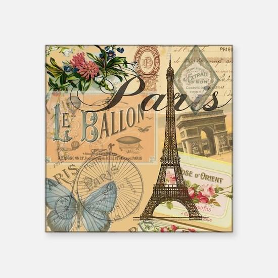 """Paris France Vintage Europe Square Sticker 3"""" x 3"""""""
