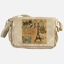 Paris France Vintage Europe Travel Messenger Bag