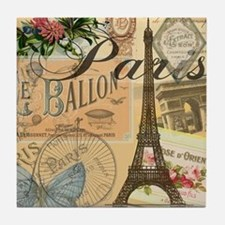Paris France Vintage Europe Travel Tile Coaster