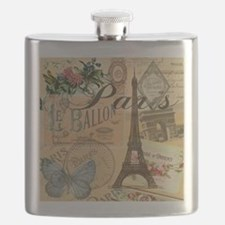 Paris France Vintage Europe Travel Flask