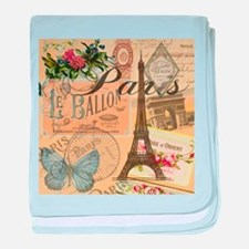 Paris France Vintage Europe Travel baby blanket