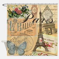 Paris France Vintage Europe Travel Shower Curtain