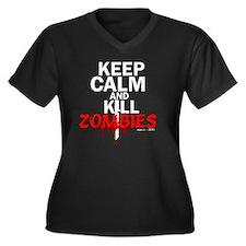 Cute Zombie hunter Women's Plus Size V-Neck Dark T-Shirt