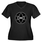Unicursal Hexagram Women's Plus Size V-Neck Dark T