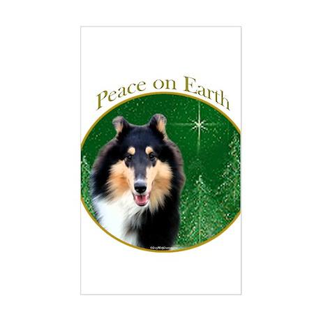 Collie Peace Rectangle Sticker