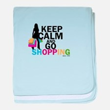 Keep Calm and Go Shopping baby blanket