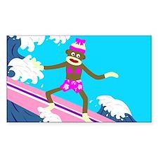 Sock Monkey Surfer Girl Rectangle Decal