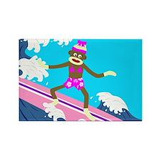 Sock Monkey Surfer Girl Rectangle Magnet