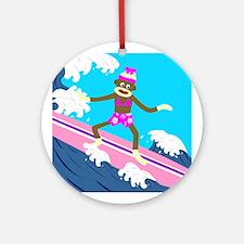 Sock Monkey Surfer Girl Ornament (Round)