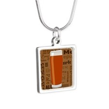 Types of Beer Series Print Silver Square Necklace