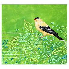 Yellow Bird in the Green Garden Poster