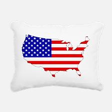 American Map Flag Rectangular Canvas Pillow