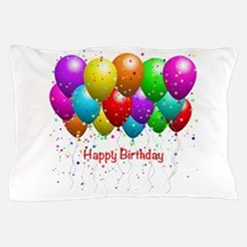Happy Birthday Balloons Pillow Case
