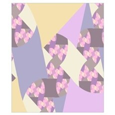 Fractal Quilt in Pastel Pink, Purple, and Yellow Poster