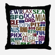 Airport Codes Throw Pillow