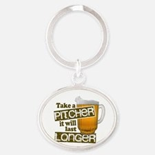 Beer Humor Take A Pitcher Oval Keychain