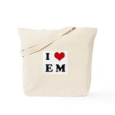 I Love E M Tote Bag