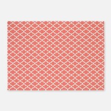 Coral pink Moroccan quatrefoil pattern 5'x7'Area R