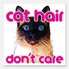 """Cat Hair Dont Care Square Car Magnet 3"""" x 3"""""""