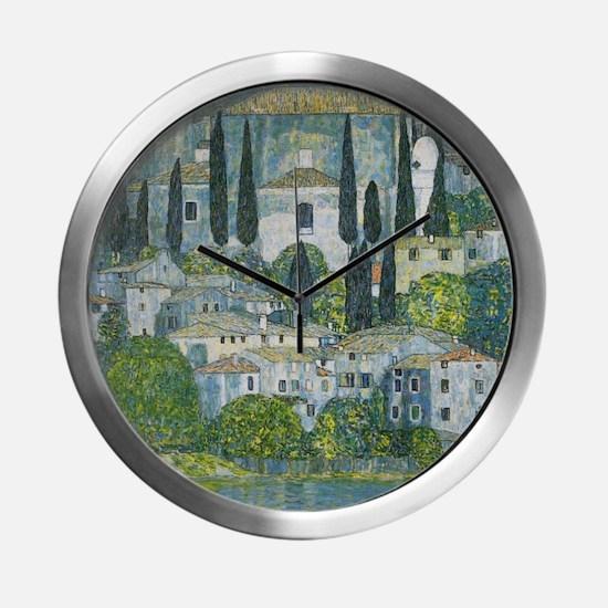 Gustav Klimt Church in Cassone Modern Wall Clock