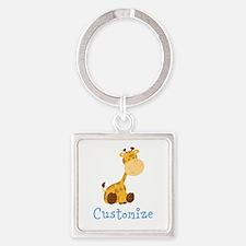 Custom Baby Giraffe Square Keychain