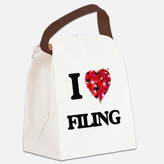 I love Filing Canvas Lunch Bag