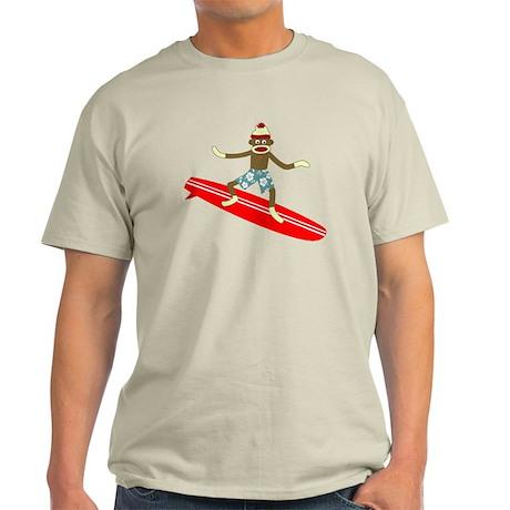 Sock Monkey Longboard Surfer Light T-Shirt