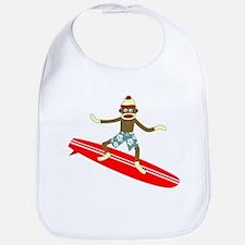 Sock Monkey Longboard Surfer Baby Bib