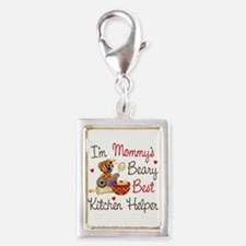 Mom's Kitchen Helper Silver Portrait Charm