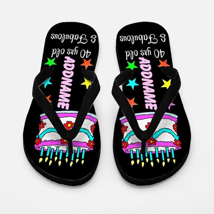 Sparkling 40th Flip Flops