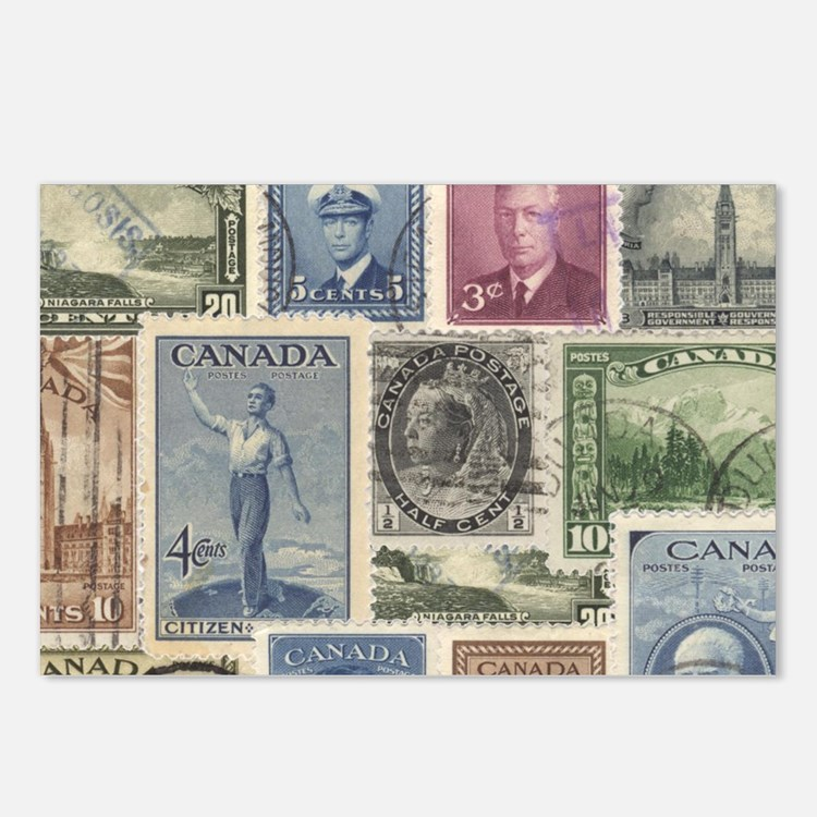 Old Canadian Stamps Postcards (Package of 8)