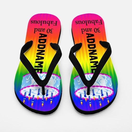 30th Rainbow Flip Flops