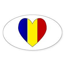 Romanian Flag Heart Oval Decal