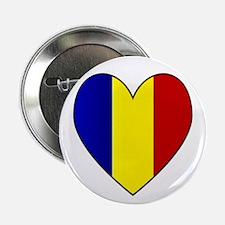 Romanian Flag Heart Button