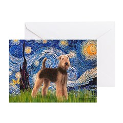 Starry Night - Airedale #6 Greeting Cards (Pk of 2