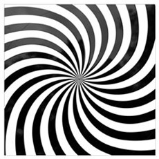 Optical Illusion, black and white swirl Canvas Art