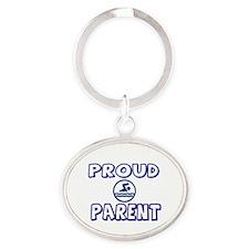 PROUD SWIM TEAM PARENT Oval Keychain