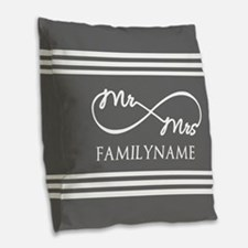 Mr. Mrs. Infinity Gray Stripe Burlap Throw Pillow