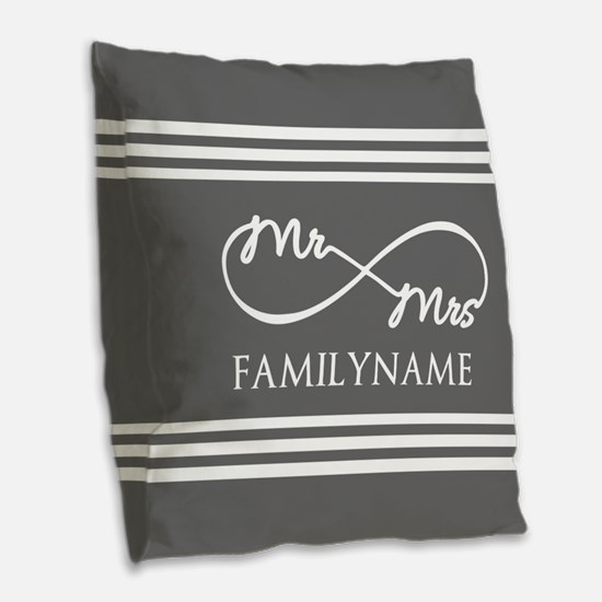 Mr. Mrs. Infinity Gray Stripe Burlap Throw Pillow