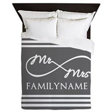 Mr. Mrs. Infinity Gray Stripes Person Queen Duvet