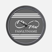 Mr. Mrs. Infinity Gray Stripes Persona Wall Clock